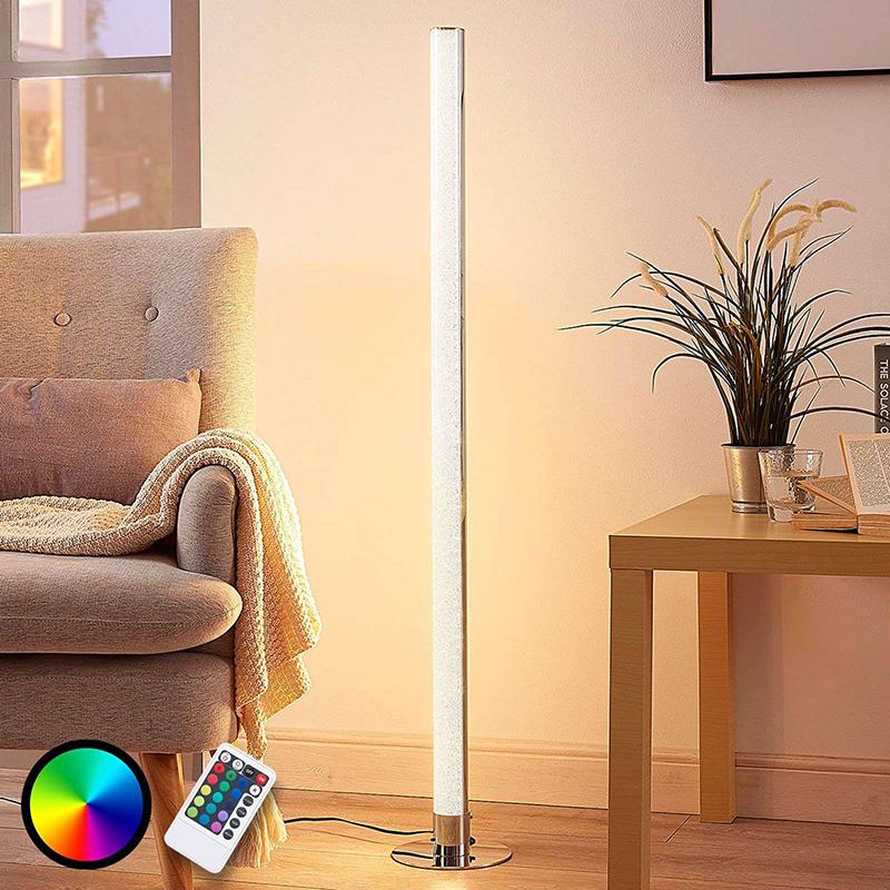 Vloerlamp chroom incl. LED en dimmer met afstandbediening - Hadis