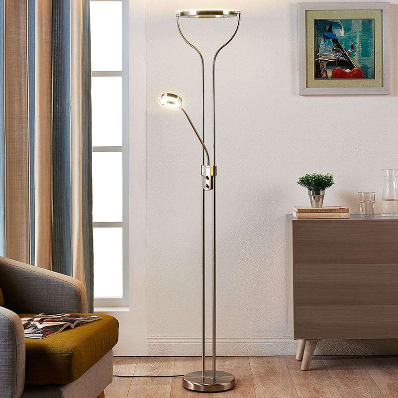 Moderne vloerlamp aluminium met leeslamp incl. LED en dimmer - Lana