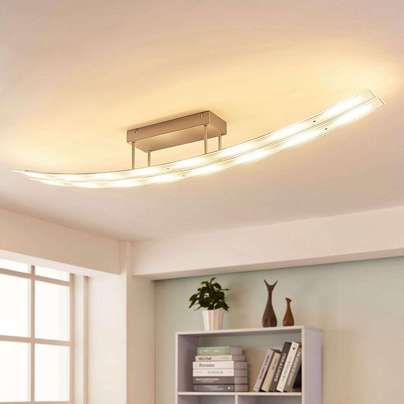 Moderne langwerpige plafondlamp staal incl. LED en dimmer - Jarda