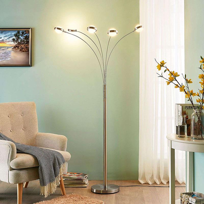 Moderne vloerlamp aluminium 5-lichts incl. LED en dimmer - Catriona