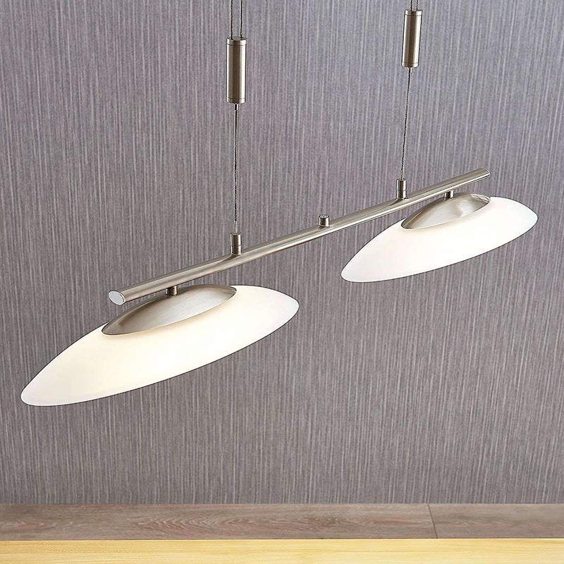 Moderne hanglamp staal 2-lichts incl. LED en dimmer - Judie
