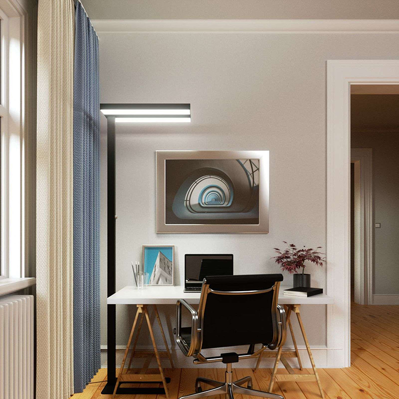 Moderne vloerlamp zwart incl. LED en dimmer - Logan