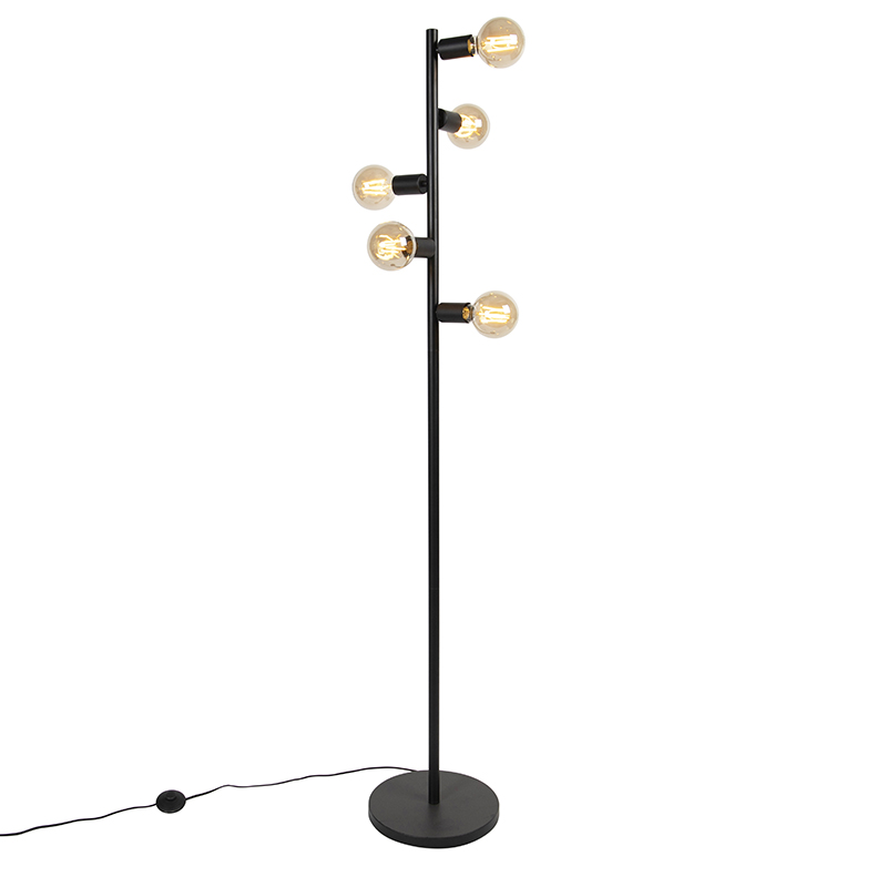 Scandinavische vloerlamp zwart 5-lichts - Facil Tube