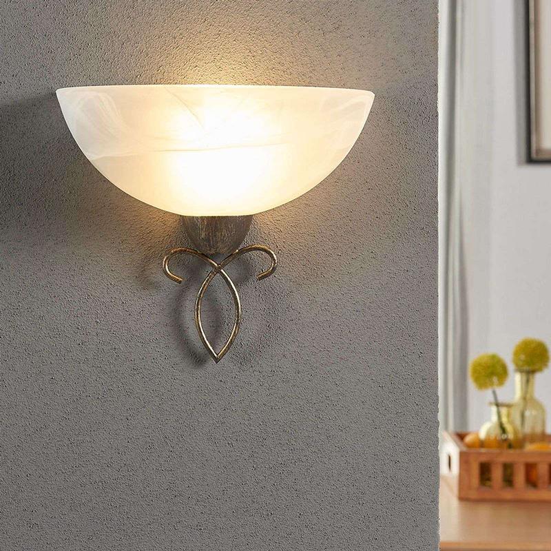 Romantische ronde wandlamp zwart met goud - Mohij