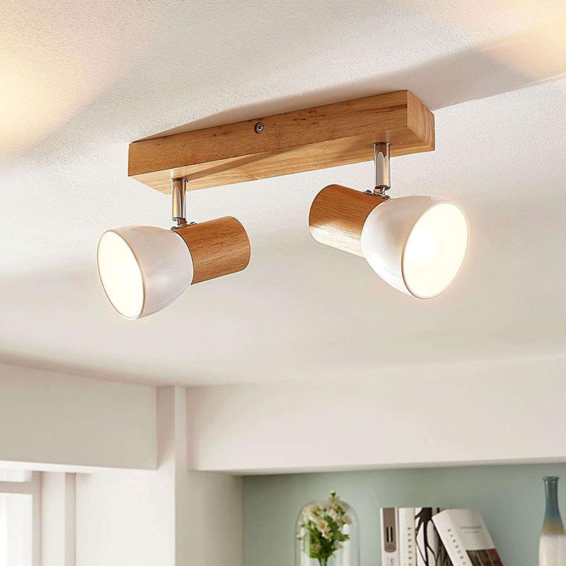 Landelijke 2-lichts plafondspot hout met wit - Thorin
