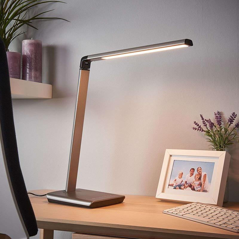 Lampa biurkowa antracytowa z portem USB z LED i ściemniaczem - Kuno