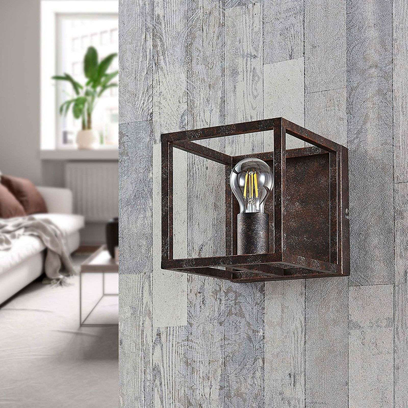 Landelijke vierkante wandlamp roestbruin - Cage