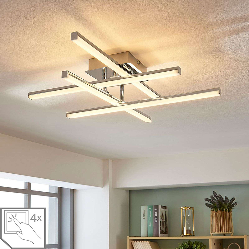 Moderne plafondlamp chroom incl. LED dimbaar - Korona