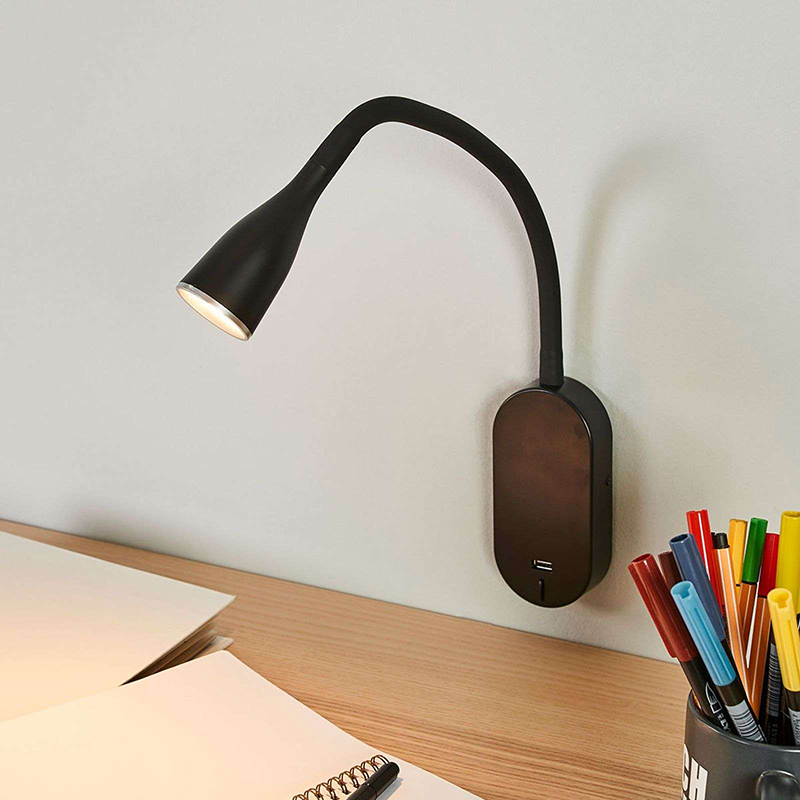 Moderne wandlamp zwart met USB poort incl. LED - Enna
