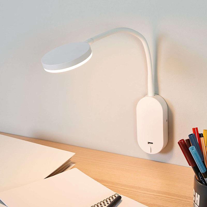 Moderne ronde wandlamp wit met USB poort incl. LED - Milow