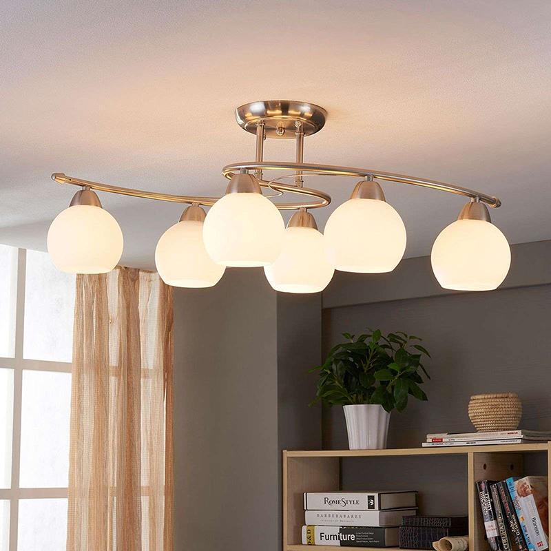 Klassieke ronde 6-lichts plafondlamp staal - Svean