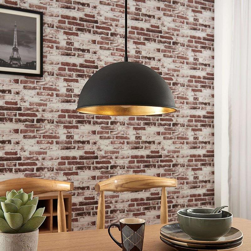 Moderne ronde hanglamp zwart met goud - Magna