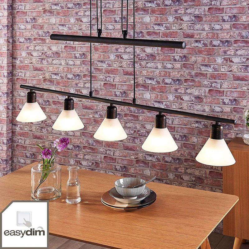 Hanglamp zwart goud met schakeldimmer incl. 5 x E14 - Eleasa