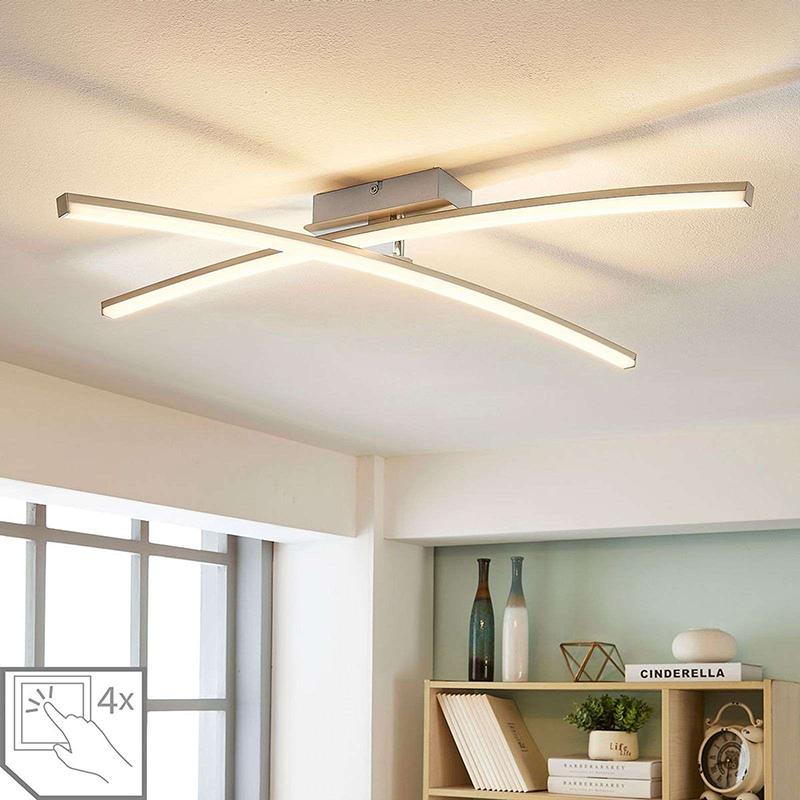 Moderne plafondlamp chroom incl. LED 4-staps dimbaar - Laurenzia