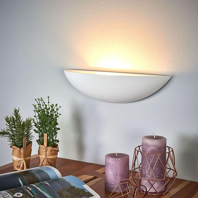 Landelijke ronde wandlamp gips - Guilia