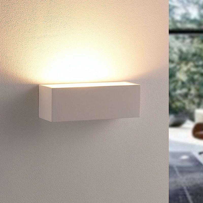 Landelijke rechthoekige wandlamp gips incl. 2 x G9 - Santino