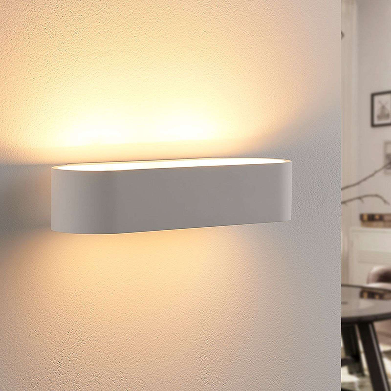 Landelijke langwerpige wandlamp gips incl. LED - Fioni