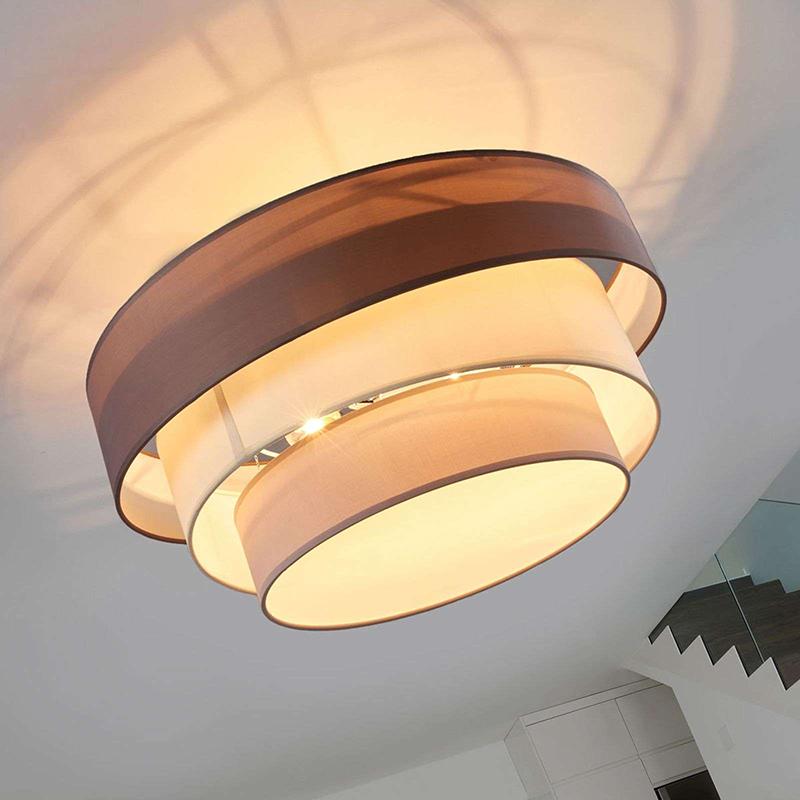 Klasyczna okrągła lampa sufitowa brązowo-szary 56 cm - Melia