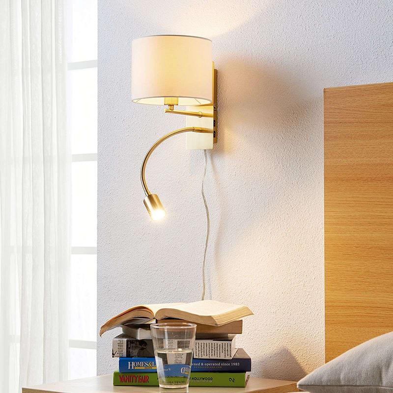 Klassieke wandlamp messing wit met leesarm incl. LED - Florens
