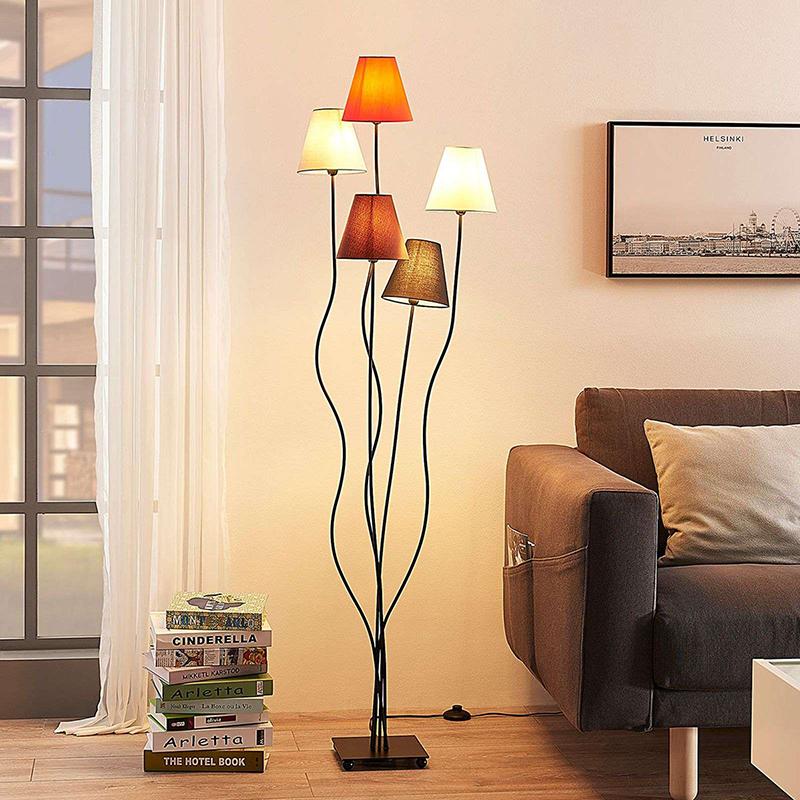 Design 5-lichts vloerlamp zwart - Melis