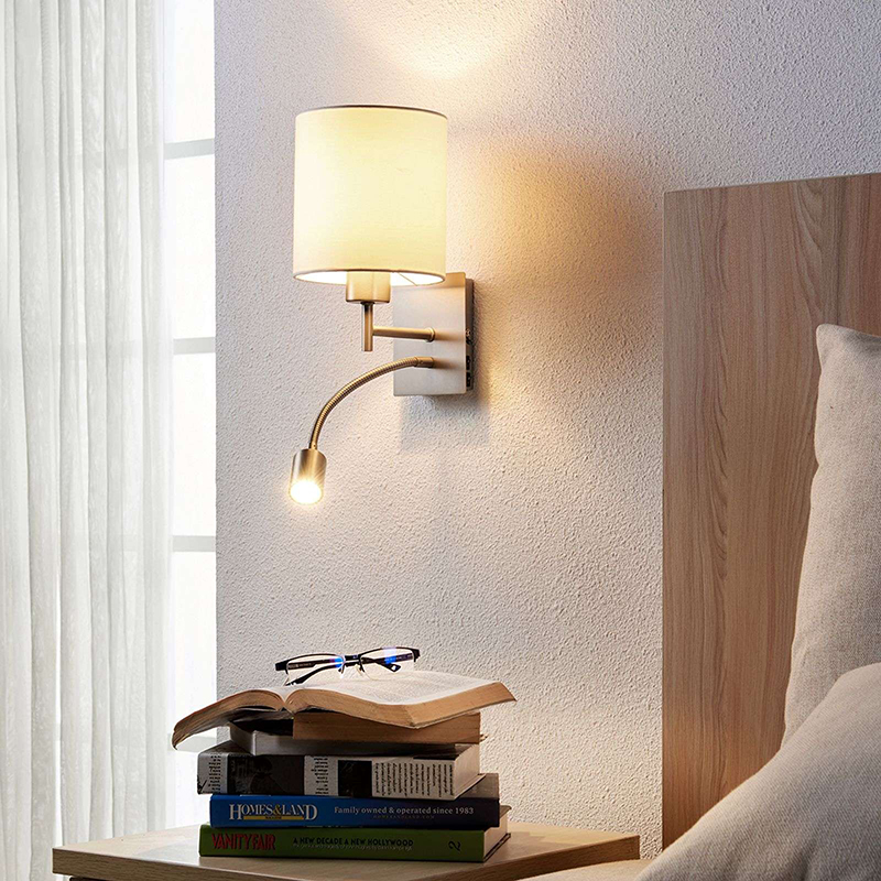 Design strakke wandlamp wit incl. LED - Camilo