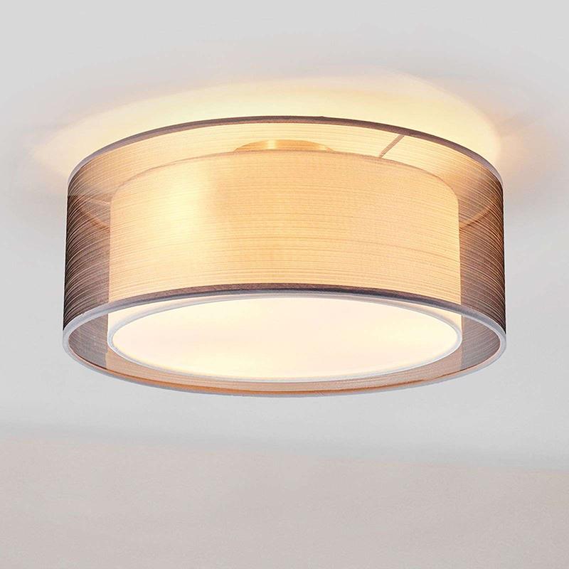 Klasyczna okrągła lampa sufitowa szaro-biała 40 cm - Nica