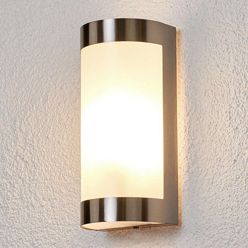 Moderne buitenlamp RVS en melkglas IP44 - Alvian