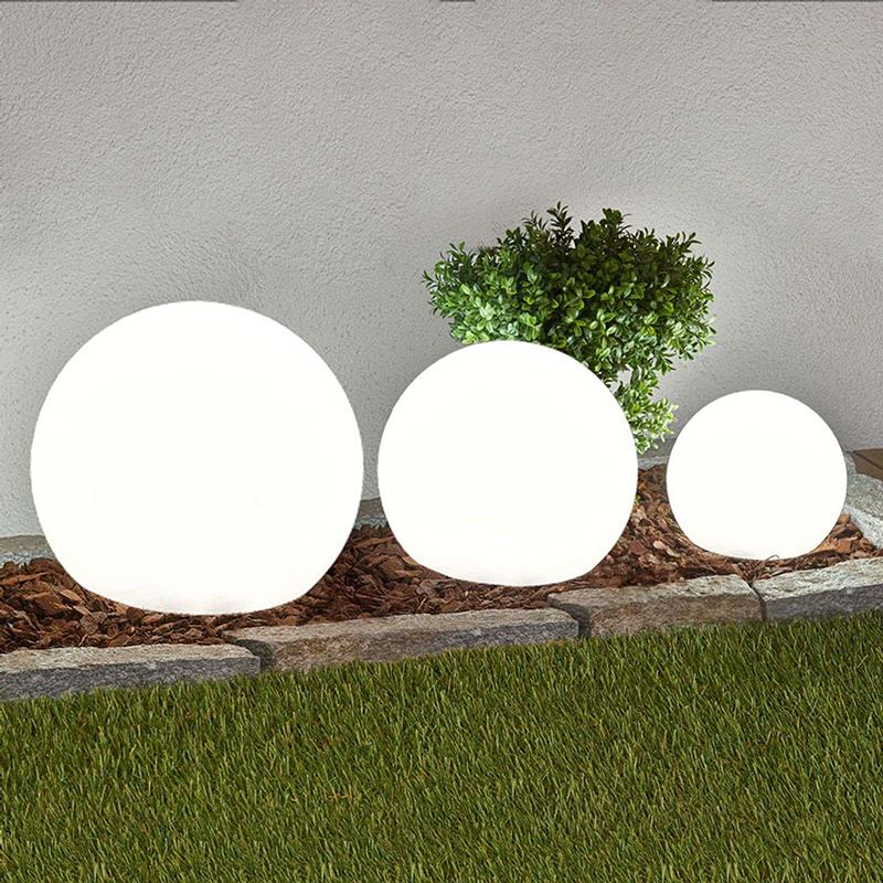 Moderne bolle buitenlampen met grondpin set van 3 incl. LED solar - Lago