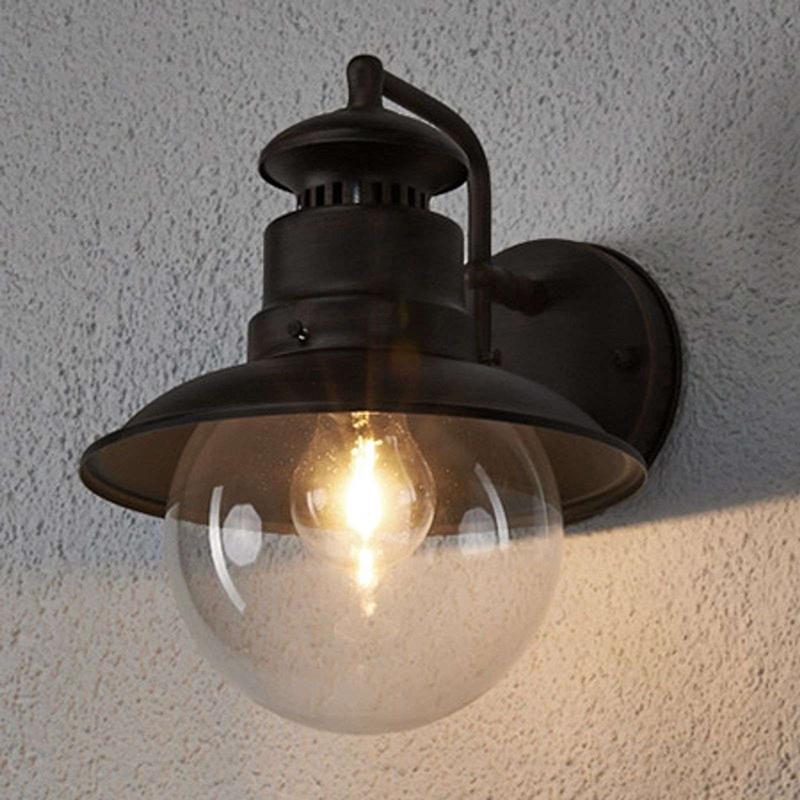 Romantische ronde buitenlamp roestbruin IP44 - Eddie