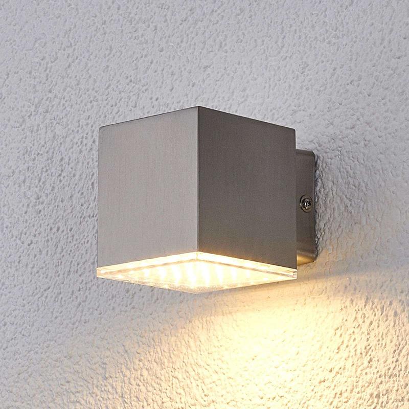 Strakke vierkante buitenlamp RVS incl. LED IP44 - Lydia