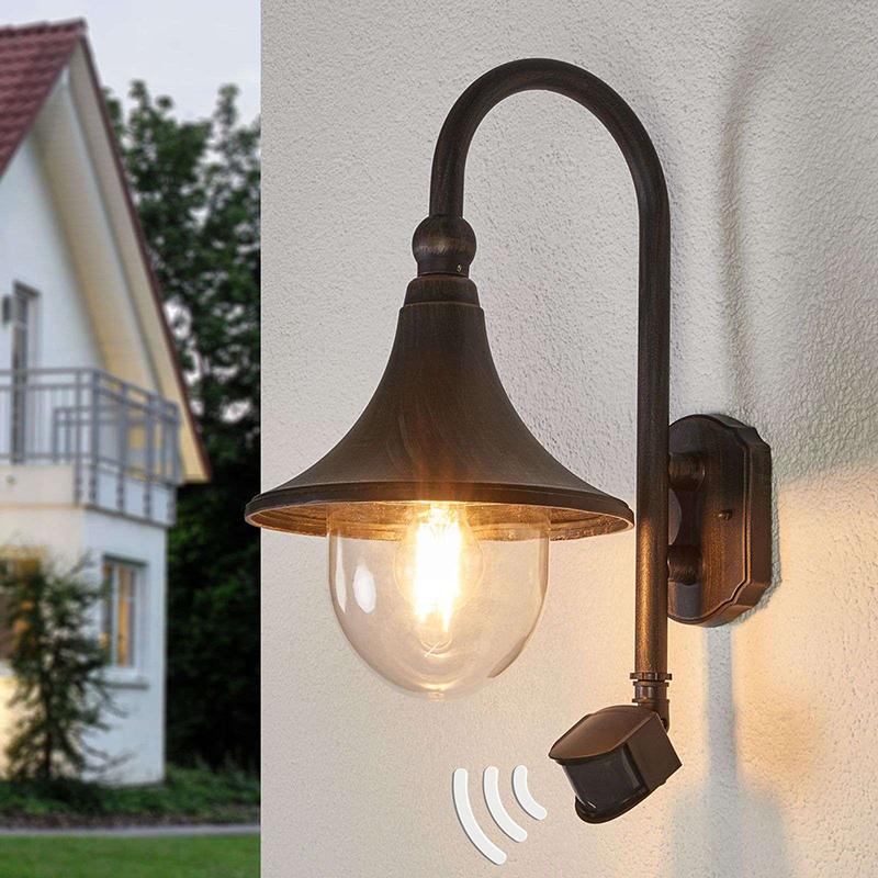 Buitenlamp roestbruin met bewegingssensor IP44 - Daphne