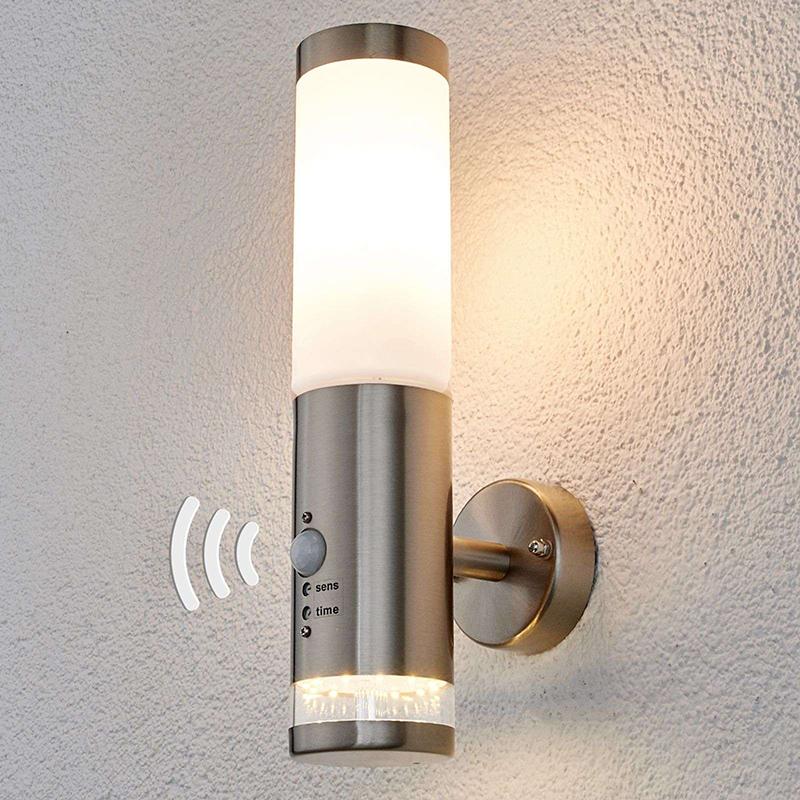 Lampa zewnętrzna ze stali nierdzewnej z czujnikiem ruchu IP44 w tym LED - Binka