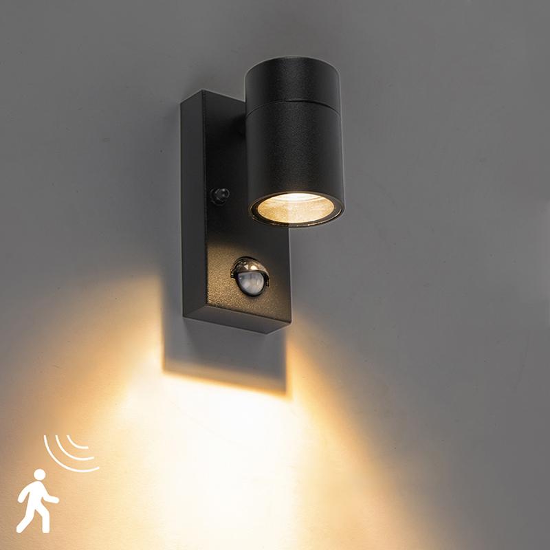Buitenwandlamp zwart met bewegingssensor IP44 - Solo
