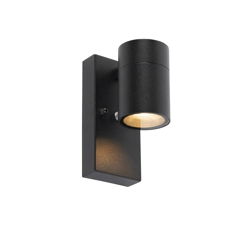 Buitenwandlamp zwart met licht-donker sensor IP44 - Solo