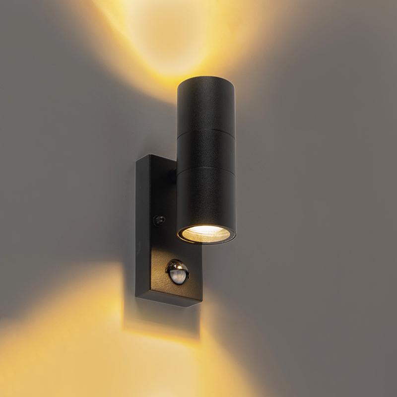 Buitenwandlamp zwart met bewegingssensor IP44 - Duo