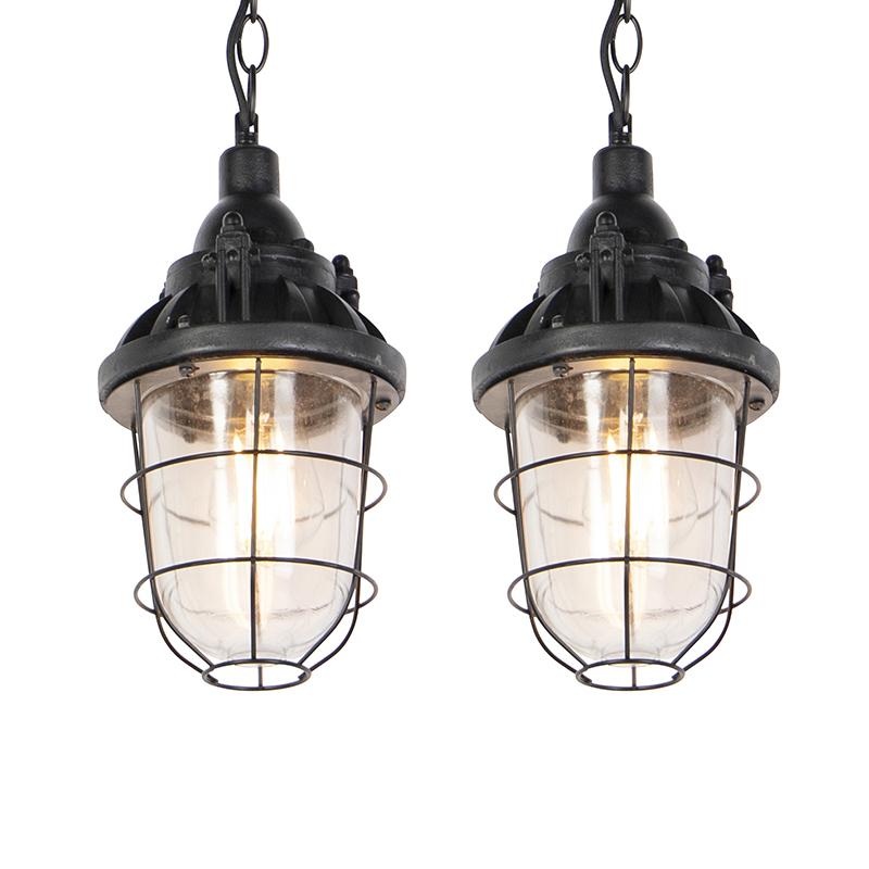 Set van 2 industri�le hanglampen zwart - Cabin
