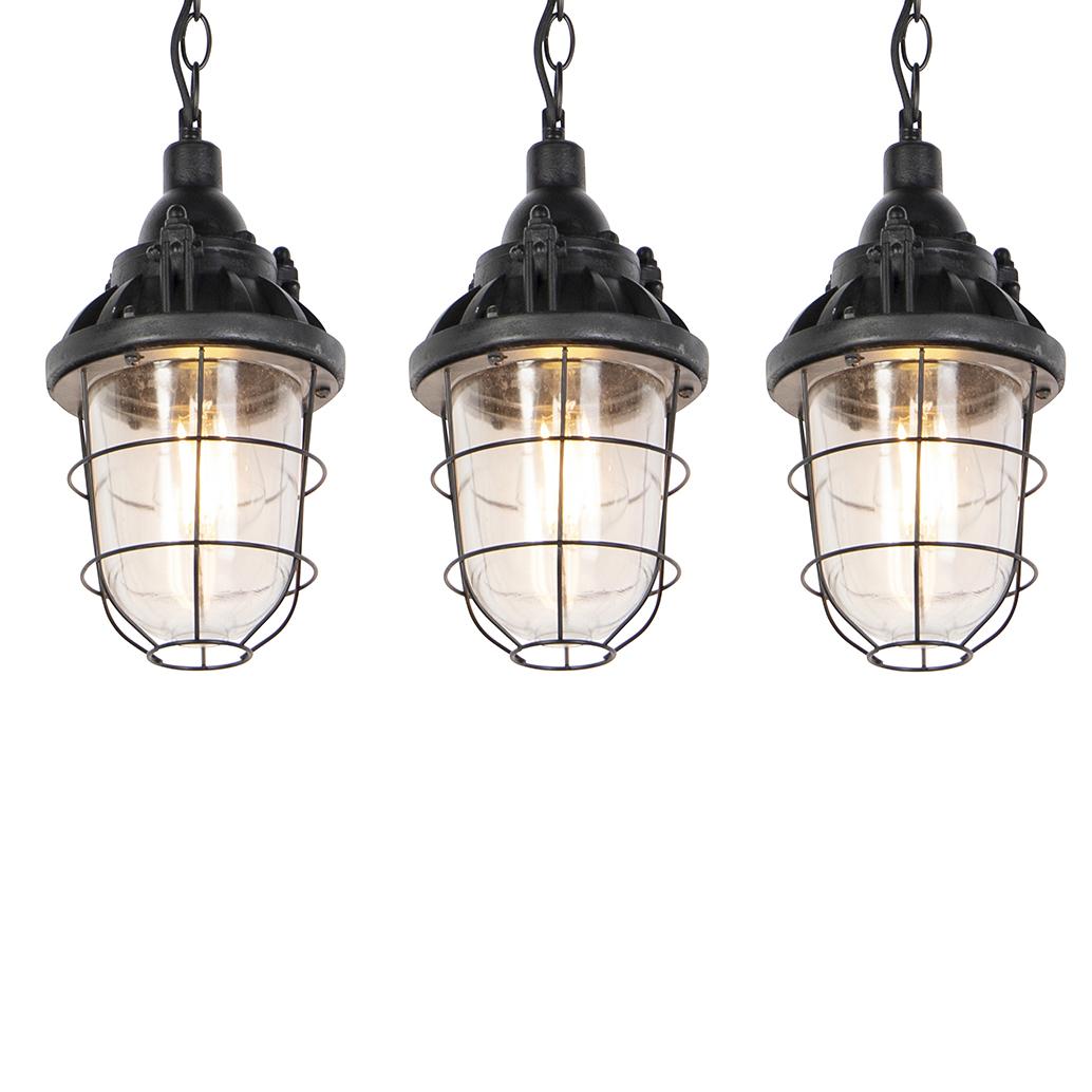 Set van 3 industriele hanglampen zwart - Cabin