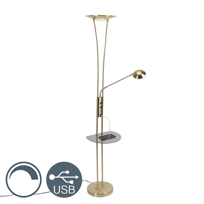 Lampa podłogowa mosiądz ramię do czytania LED USB - Sevilla