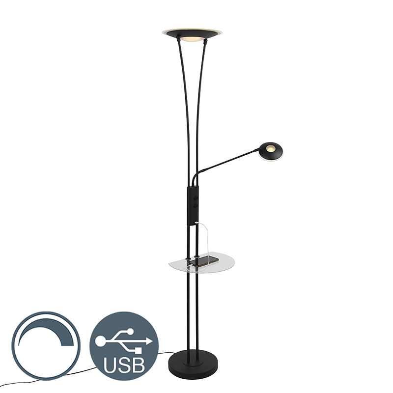 Lampa podłogowa czarna ramię do czytania LED USB - Sevilla