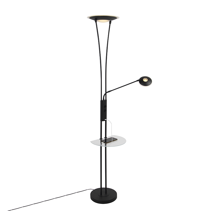 Vloerlamp zwart met leesarm incl. LED en USB-poort - Sevilla