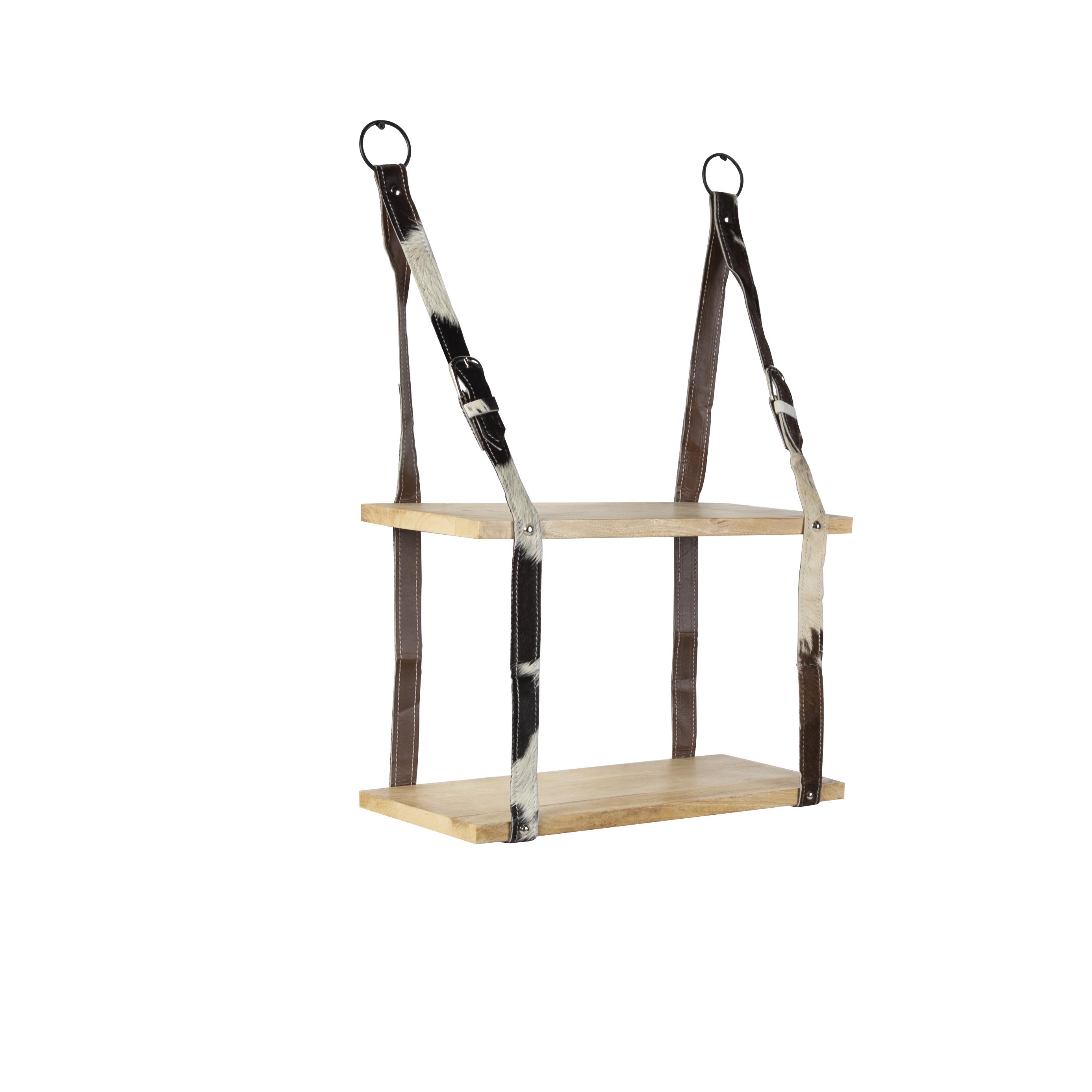 Industrieel wandrek met 2 houten planken en lederen riemen - Belt