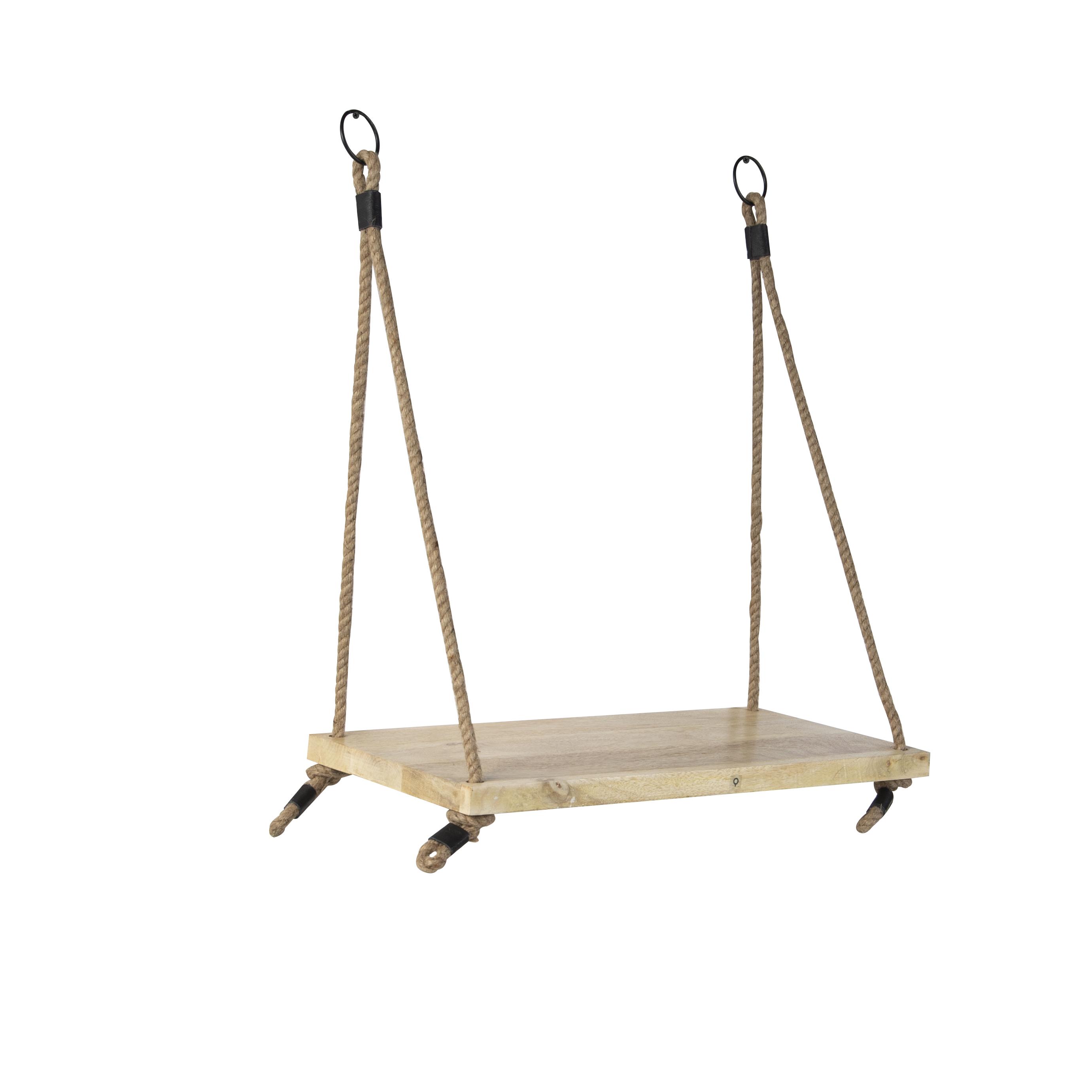 Industrieel wandrek met 1 houten plank en naturel touw - Swing