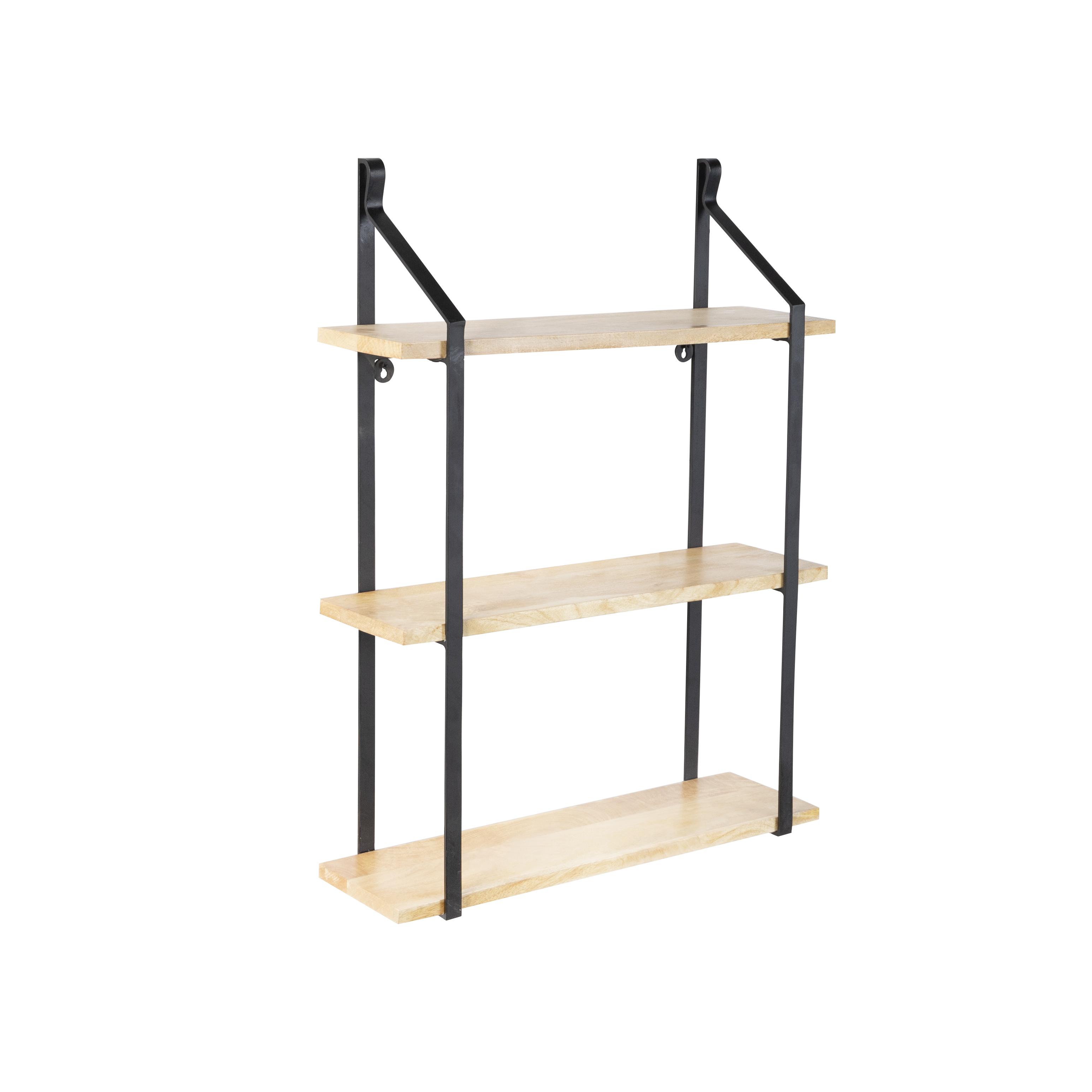 Industrieel wandrek met 3 houten planken en zwarte stangen - Swing